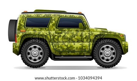 camouflage car on a white