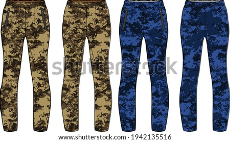 Camouflage Jogger bottom Pants  design vector template, Track pants concept with front and back view, Sweatpants for running, jogging, fitness,  and  active wear pants design. Stock photo ©
