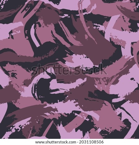 Camouflage modern fashion design. Hand drawn vinous camo with brush strokes. Maroon shade color, fashionable, fabric. Vector seamless grunge pattern. Foto d'archivio ©