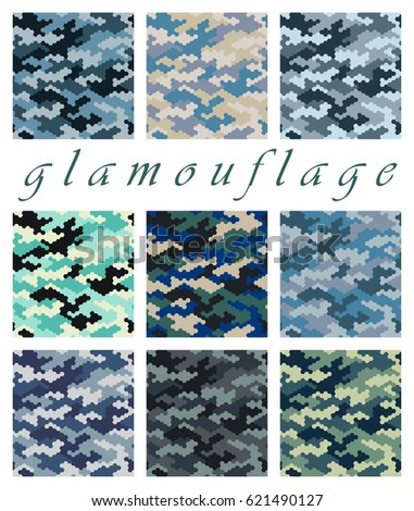 Camouflage pattern background seamless vector illustration. Fashionable Colorful Camouflage Seamless Pattern. Hexagonal fashion camouflage pattern background. Seamless camouflage pattern background.