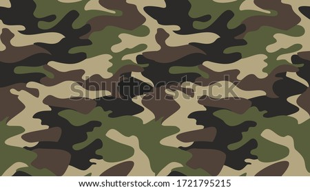 Camouflage pattern background vector. Classic clothing style masking camo repeat print. Virtual background for online conferences, online transmissions. Green brown black olive colors forest texture  Stock photo ©