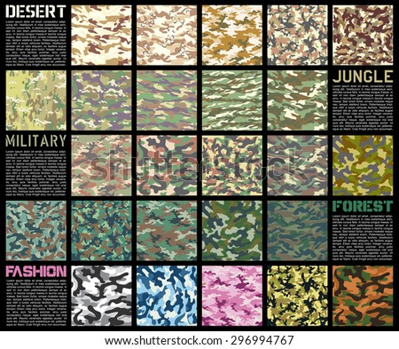 camouflage pattern set texture