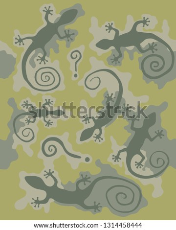 camouflage pattern with gecko
