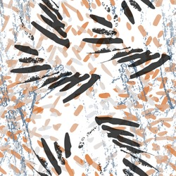 Camouflage Seamless Pattern. Fashion Concept. Distress Print. Black, Gold Illustration. Army Surface Textile. Ink Stains. Spray Paint. Splash Blots. Artistic Creative Vector Background.