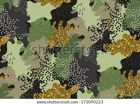 Camouflage seamless pattern in a shades of green, gold glitter, brown, beige colors.