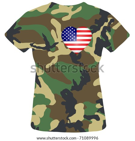 Camouflage shirt with the heart of the American flag.Vector