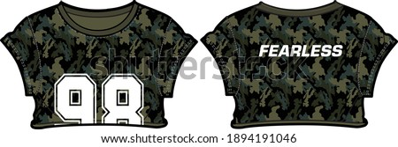 Camouflage Women crop top  t-shirt Jersey design concept Illustration Vector, Fashionable Casual wear Short sleeve crop top suitable for girls and Ladies for training uniform kit for sports activity.  Stock photo ©
