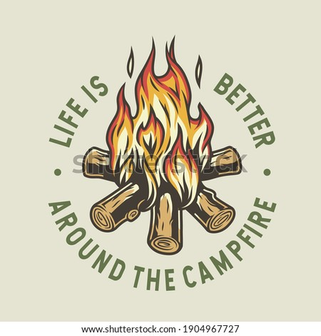 Camp burning campfire with flame for camping design or t-shirt print