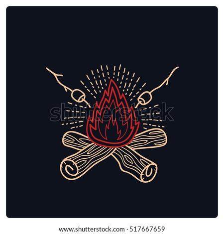 camp campfire logo vector