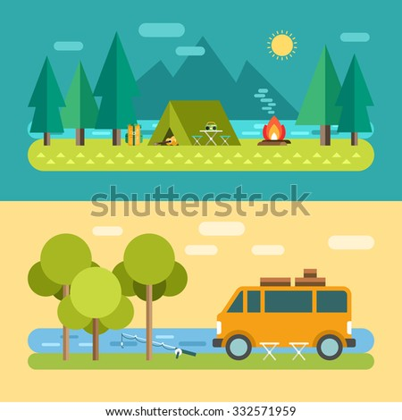 Camp Concept. Tourist Tent on the Lake. Minivan on the River, Fishing. Vector Illustration in Flat Design Style for Web Banners or Promotional Materials