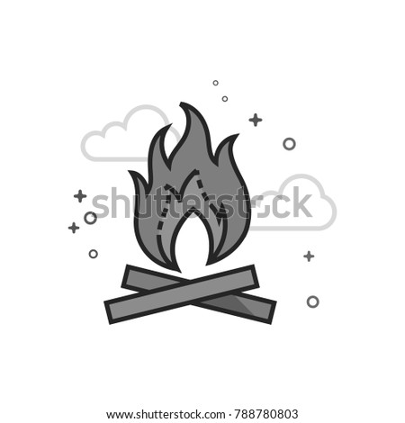 camp fire icon in flat outlined