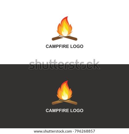 camp fire logo vector design