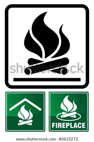 Camp fireplace sign. Vector illustration.