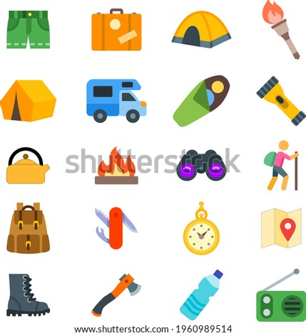 Camp icon set with pant, briefcase, camp tent, torch lamp, caravan, truck, sleep bag, torch, kettle, camp fire, binocular, bag pack, time watch, location, map, boots, axle, water bottle, radio