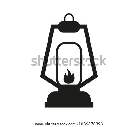 Beautiful Camp Light Icon On White Background With Oil Lamp Clipart Black And