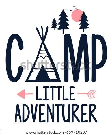 camp slogan illustration vector