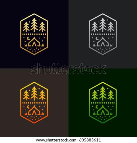 Camp tent and trees graphic design emblem logo illustration