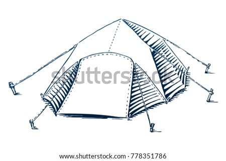 Camp Tent Camping Equipment Travel Symbol Tourism Hand Drawn Illustration In Engraving