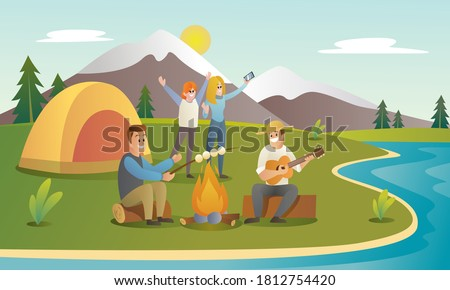 Camp with friends vector illustration. Group of teens are camping at nature. camp at lake, camp flat cartoon illustration