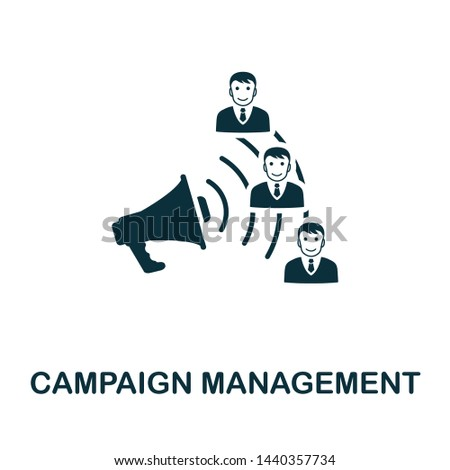 Campaign Management vector icon illustration. Creative sign from crm icons collection. Filled flat Campaign Management icon for computer and mobile. Symbol, logo vector graphics.