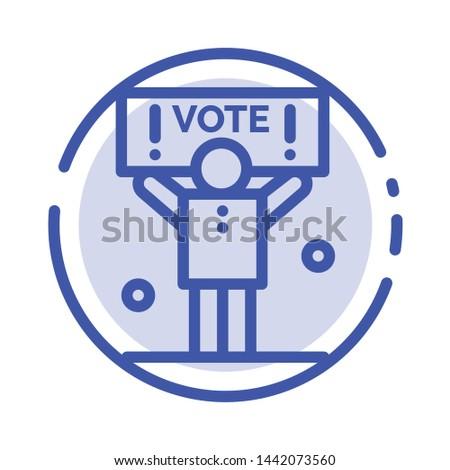 Campaign, Political, Politics, Vote Blue Dotted Line Line Icon
