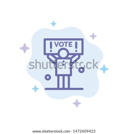 Campaign, Political, Politics, Vote Blue Icon on Abstract Cloud Background