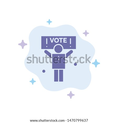 Campaign, Political, Politics, Vote Blue Icon on Abstract Cloud Background. Vector Icon Template background