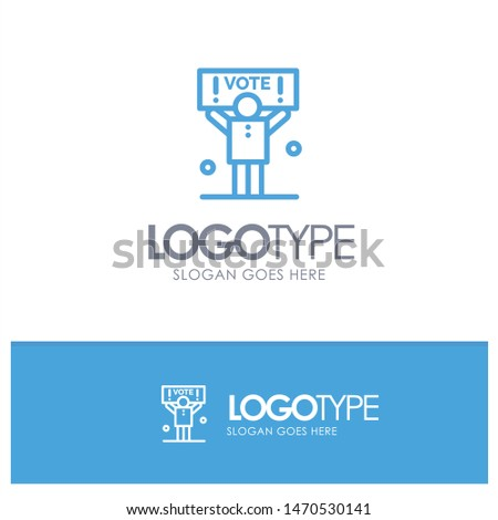 Campaign, Political, Politics, Vote Blue outLine Logo with place for tagline. Vector Icon Template background