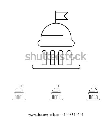 Campaign, Political, Politics, Vote Bold and thin black line icon set