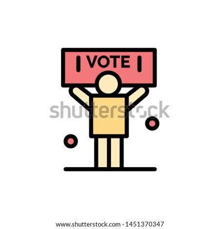 Campaign, Political, Politics, Vote  Flat Color Icon. Vector icon banner Template