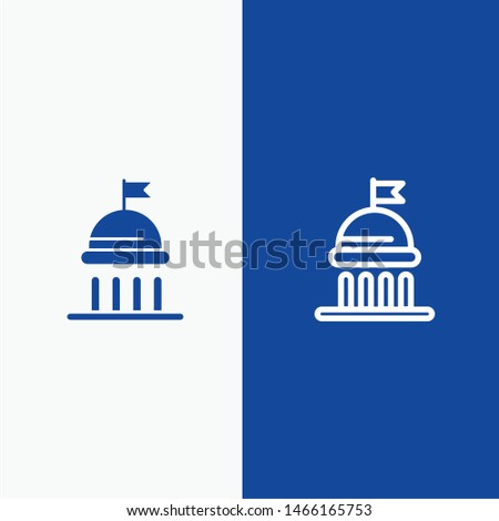 Campaign, Political, Politics, Vote Line and Glyph Solid icon Blue banner Line and Glyph Solid icon Blue banner. Vector Icon Template background