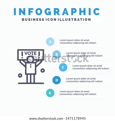 Campaign, Political, Politics, Vote Line icon with 5 steps presentation infographics Background. Vector Icon Template background