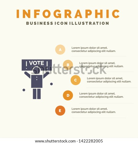 Campaign, Political, Politics, Vote Solid Icon Infographics 5 Steps Presentation Background