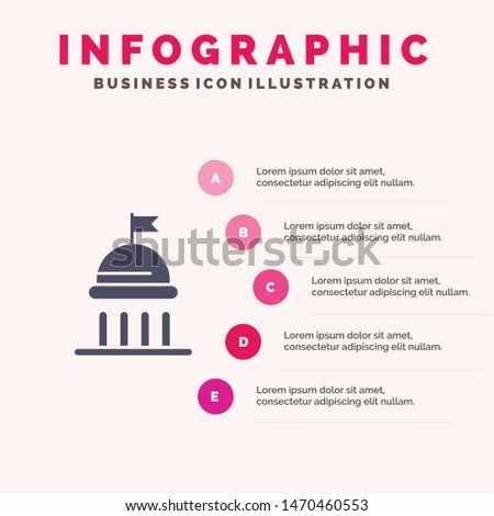 Campaign, Political, Politics, Vote Solid Icon Infographics 5 Steps Presentation Background. Vector Icon Template background