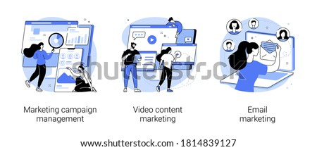 Campaign tracking and analysis abstract concept vector illustration set. Marketing campaign management, video content, email marketing, social media metrics, audience engagement abstract metaphor.