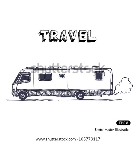 Camper. Hand drawn sketch illustration isolated on white background