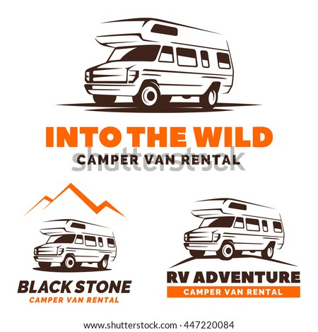 Camper van car logo, emblems and badges isolated on white background. RV and caravan park design elements. Recreational vehicle vector illustration.