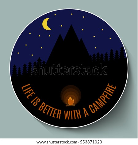 campfire at night on a...
