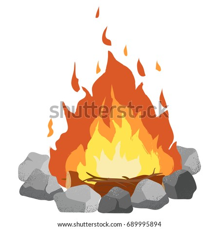 Campfire clip art illustration on white background. Textured cartoon.
