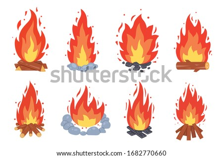Campfire different types. Vector burning bonfire frames. Camping fire collection. Fireplace with fire coals or woodfire in cartoon style set.