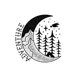 Camping adventure badge design. Outdoor crest logo with tent and trees. Travel silhouette label isolated. Sacred geometry. Stock vector tattoo graphics emblem