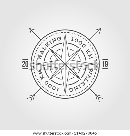 Camping, Adventure, Expedition Logo Vector Illustration. Badge. Outdoor Leisure, Compass, Stamp. Vintage Typography Design