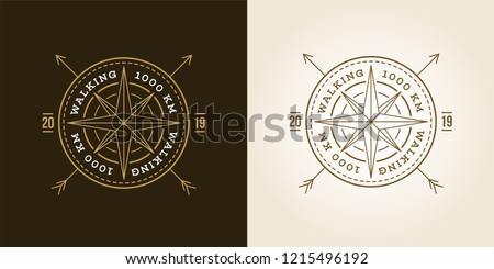 Camping, Adventure, Expedition Logo Vector Illustration. Badge. Outdoor Leisure, Compass, Stamp. Vintage Typography Design Set