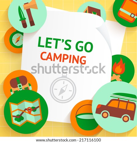 Camping adventure recreation outdoor travel elements background template vector illustration