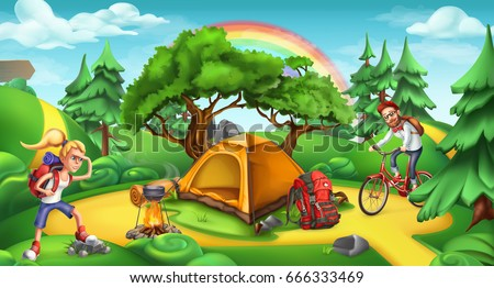 Camping and adventure time. Nature landscape, 3d vector panorama