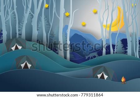 Stock Photo Camping and Campfire, Pine forest and mountains background, starry night sky with moonlight. Family Adventure Camping or outdoor activities. paper art and craft style. Vector illustration.