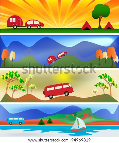 Camping and Caravaning Vector Banner Templates