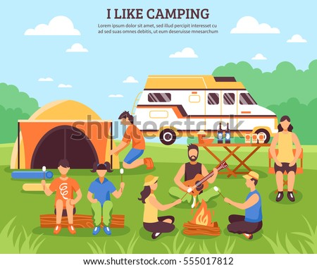 Camping and hiking composition with group of young people flat characters during outdoor recreation summer travel vector illustration