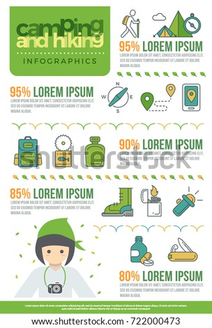 camping and hiking infographics elements icon vector design concept. hiking flat style with thin line art icons mountain, compass, hike, forest, knife, flashlight, food and drug. Editable stroke