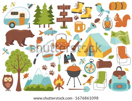Camping and hiking set, hand drawn elements- tent, campfire, map and wild animals.  Perfect for scrapbooking, craft projects, posters, tags, sticker kit. Vector illustration.